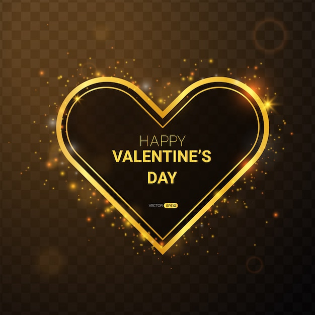 Happy valentine's day with gold frame. Premium Vector