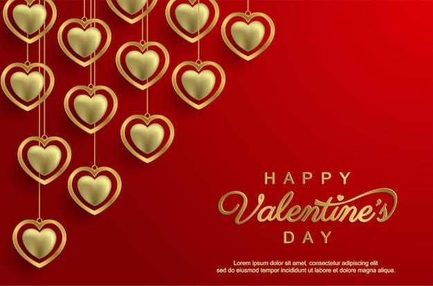 С днем святого валентина с реалистичной любовью Premium векторы