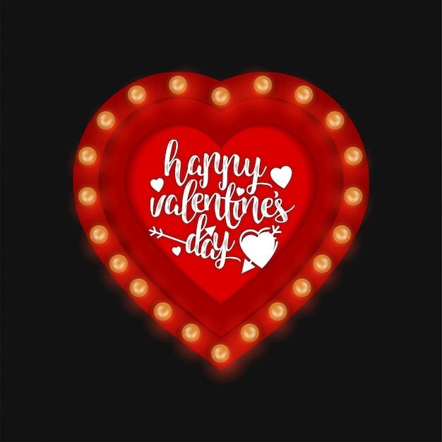 Happy Valentineu0027s Day With Red Lights Free Vector