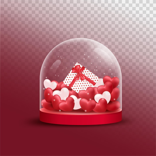 Premium Vector Happy Valentine S Day With Red And Pink Luxury Hearts Gifts Box In Cover Glass Jar Transparent Background