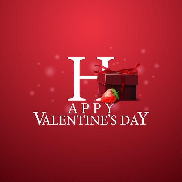 Happy valentine's day - логотип с подарком и клубникой Premium векторы