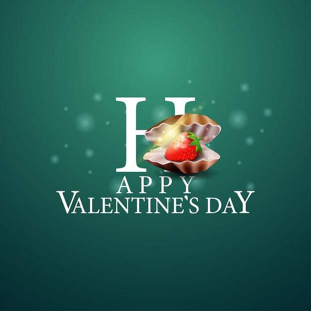 Happy valentine's day - логотип с жемчужной раковиной Premium векторы