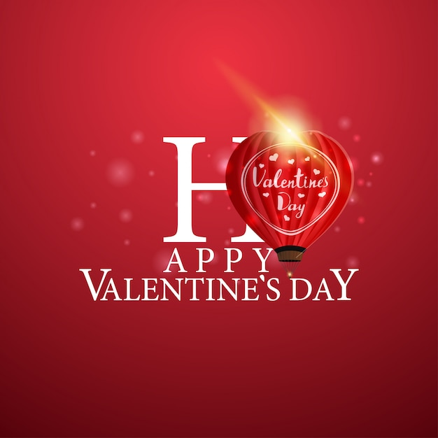Happy valentine's day - логотип с воздушным шариком в форме сердца Premium векторы