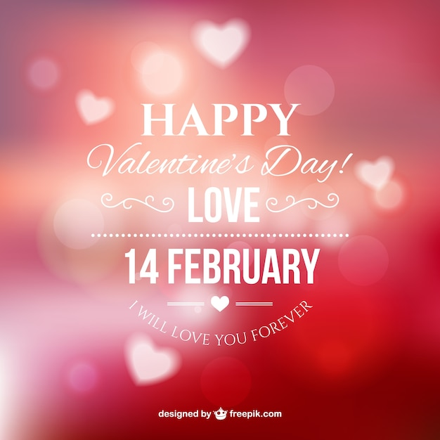 Happy valentine's with blurred background Free Vector