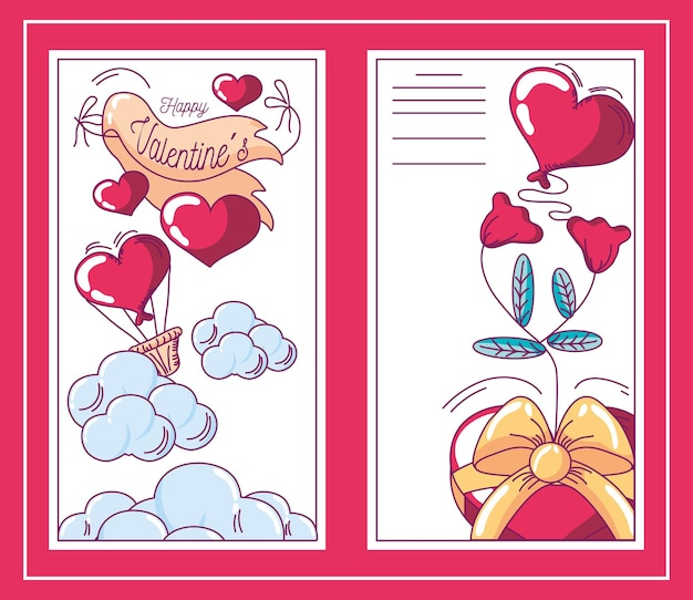 Happy valentines banners hearts flowers and balloosn decoration hand drawn style vector illustration Premium Vector