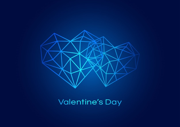Happy valentines day background with geometric heart Premium Vector