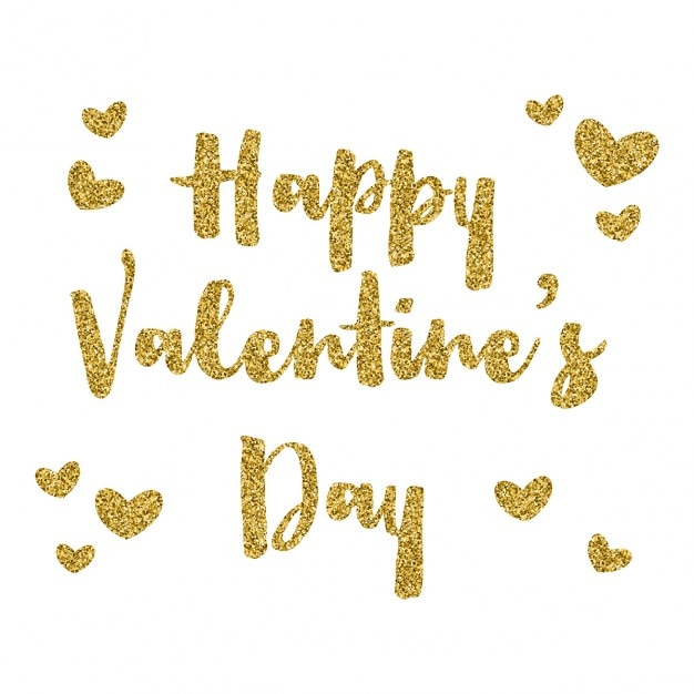 happy valentines day background with gold glitter text free vector