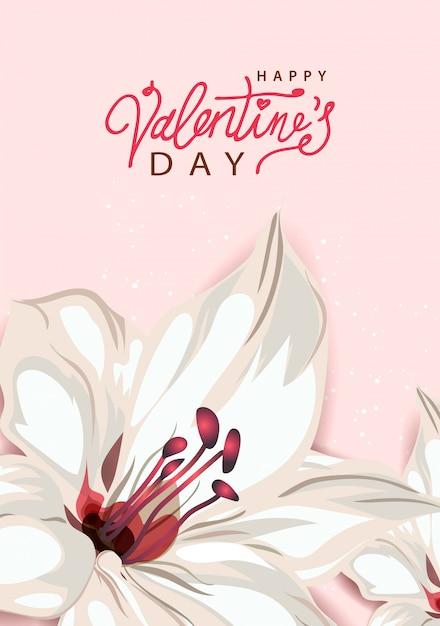 幸せなバレンタインデー。ユリの花、パステルカラーの背景。手書きのカリグラフィテキストレタリング。 Premiumベクター
