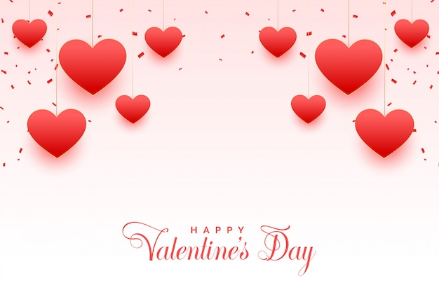 Happy valentines day beautiful hearts greeting card Free Vector
