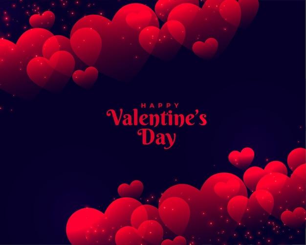 Felice giorno di san valentino bellissimo sfondo rosso cuori Vettore gratuito