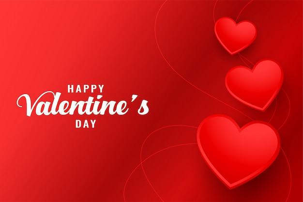 Happy valentines day beautiful red hearts greeting card Free Vector