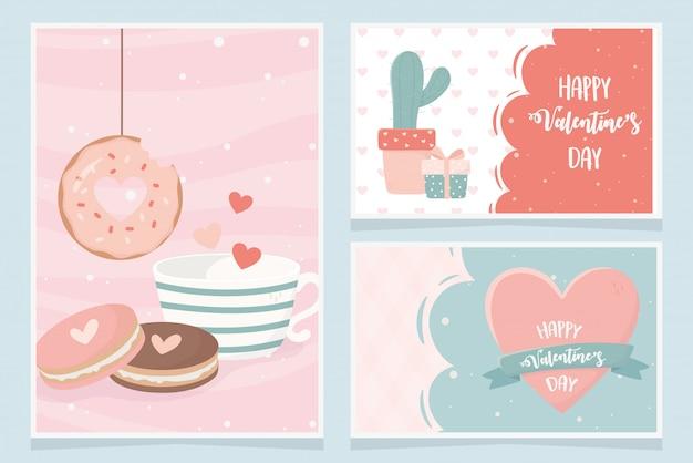 Happy valentines day cactus gift cookies donut heart love card set Premium Vector