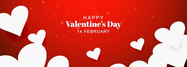 Happy valentines day card decorative hearts banner background Free Vector
