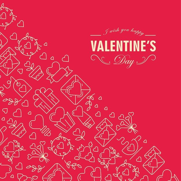 해피 발렌타인 데이 카드는 앞쪽 모서리에 소원을 담은 텍스트와 빨간색 그림의 왼쪽에있는 하트, 나뭇 가지, 봉투와 같은 많은 아이콘을 포함한 텍스트로 두 부분으로 나뉩니다. 무료 벡터