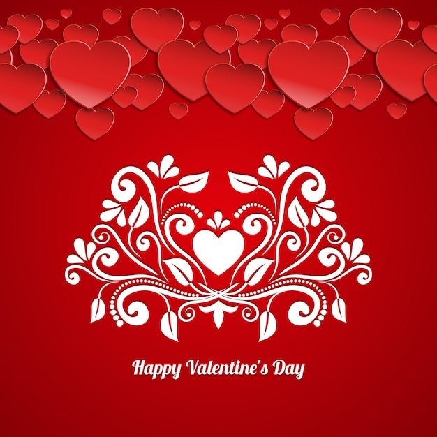 Happy valentines day card vector template with paper hearts and calligraphic floral pattern Free Vector