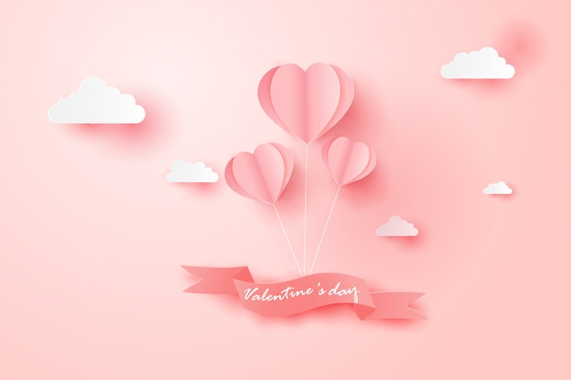 Happy valentines day card with balloon float the sky. Premium Vector