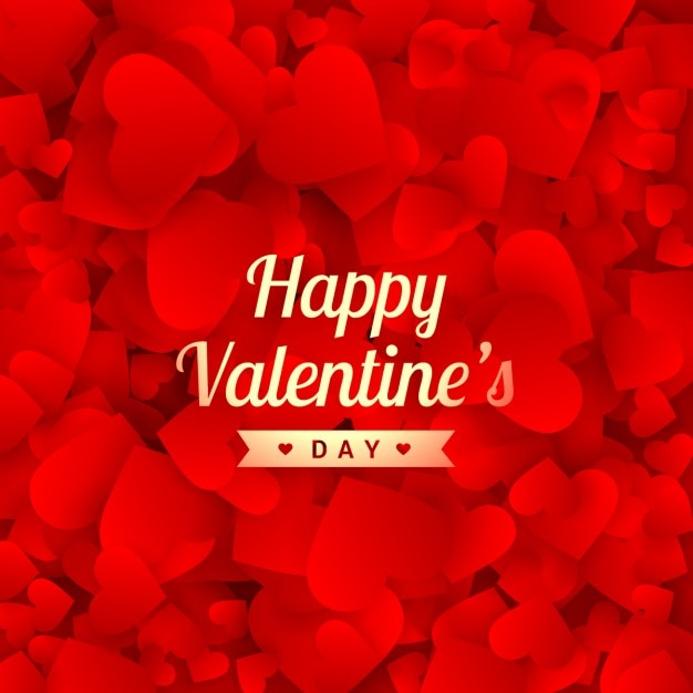 Happy Valentines Day Card With Red Hearts Vector Free Download