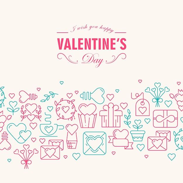 소원과 함께 해피 발렌타인 데이 카드는 행복하고 많은 기호가 심장, 리본, 봉투, 그림과 같은 장미와 녹색으로 채색됩니다. 무료 벡터