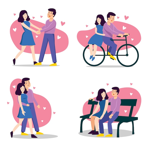 Happy valentines day couple concept Free Vector
