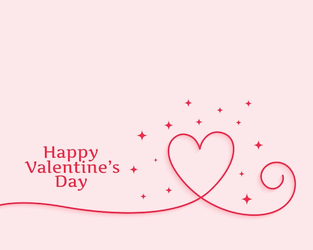 Happy valentines day creative line heart Free Vector