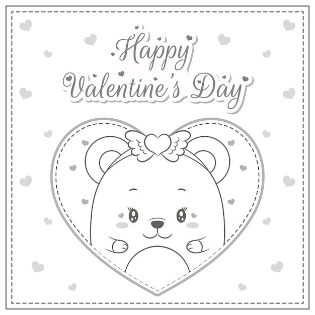 С днем святого валентина милый ребенок плюшевый мишка в большом сердце эскиз для раскраски Premium векторы