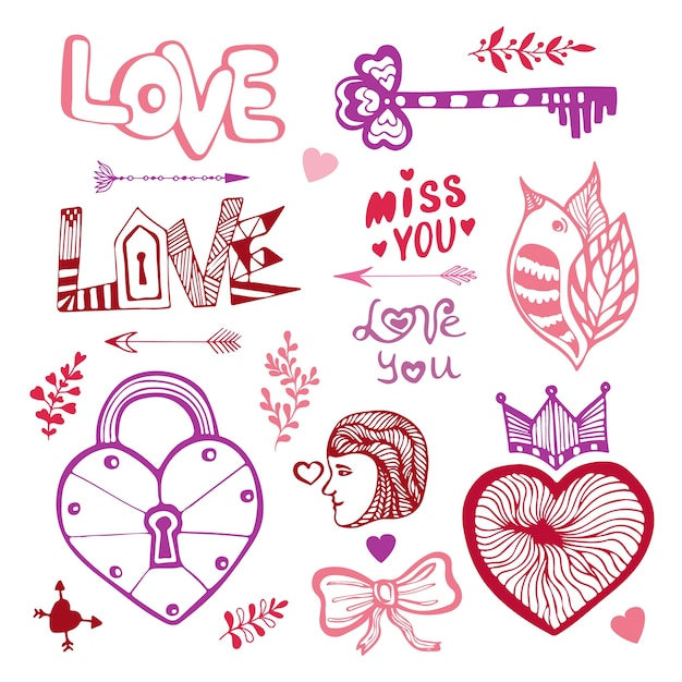 Happy Valentines day. Cute doodle collection with hearts ...