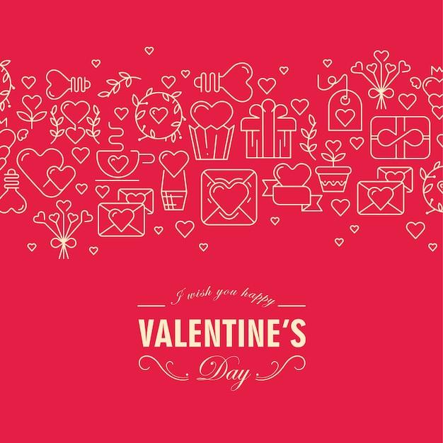 ハート、リボン、封筒などのさまざまなシンボルとこの日のイラストで幸せな願いと幸せなバレンタインデーの装飾カード 無料ベクター