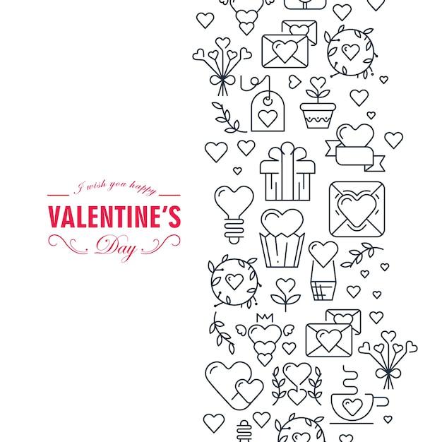 幸せなバレンタインデーの装飾カードは幸せであり、ハート、リボン、封筒、ギフトイラストなどの多くのシンボル 無料ベクター