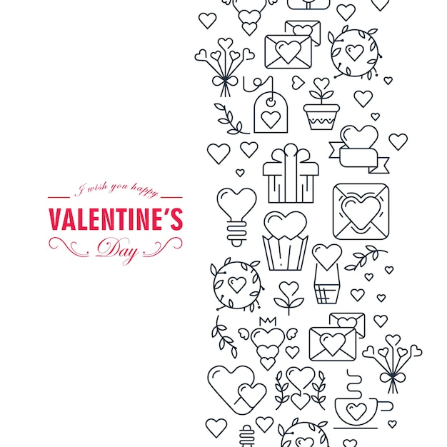 Happy valentines day decorative card with wishes be happy and many symbols such as heart, ribbon, envelope, gift  illustration Free Vector