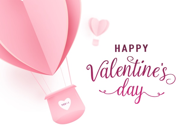 Happy valentines day  design with paper cut pink heart shape hot air balloons flying Free Vector