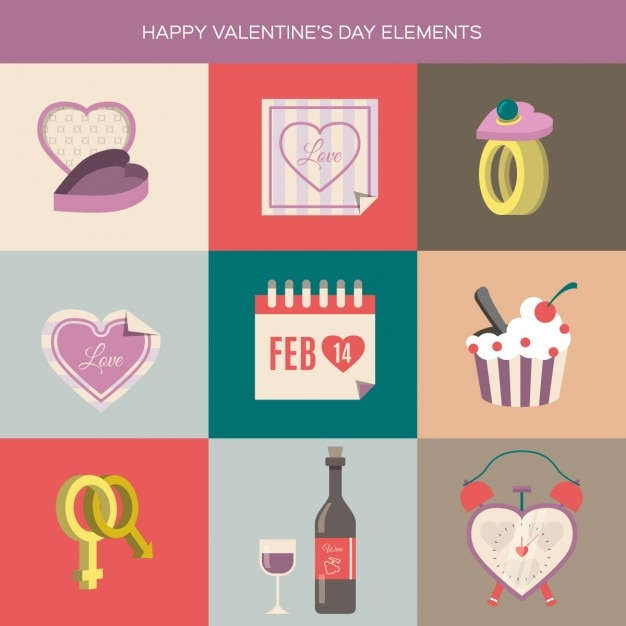 Happy Valentines Day Elementes Free Vector