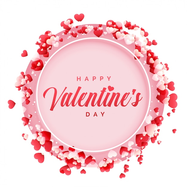Happy Valentines Day Frame With Hearts Background Vector Free Download