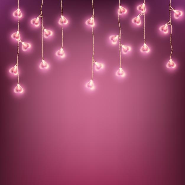 幸せなバレンタインデーガーランドランプカード。 Premiumベクター