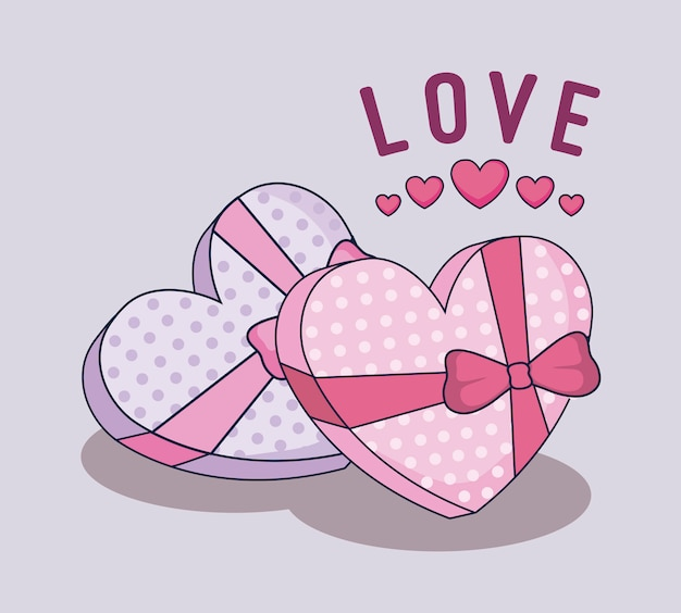 Happy valentines day gifts boxes Premium Vector