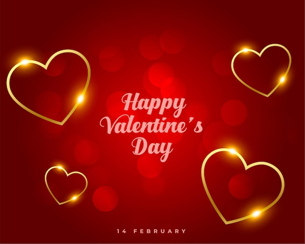 Happy valentines day golden floating hearts design Free Vector