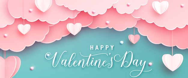 Happy valentines day greeting banner in papercut realistic style. paper hearts, clouds and pearls on string. calligraphy text Free Vector
