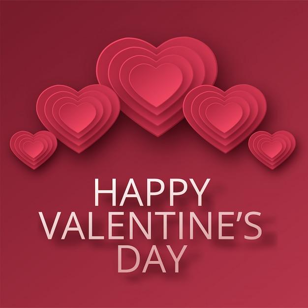幸せなバレンタインデーのグリーティングカード。ペーパーアート、愛、結婚式。折り紙のスタイルで赤い紙のハート。図 Premiumベクター