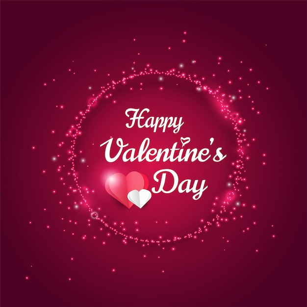 Happy valentines day greeting card, shiny glitter light effect Premium Vector