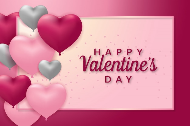 Happy valentines day greeting card template Premium Vector