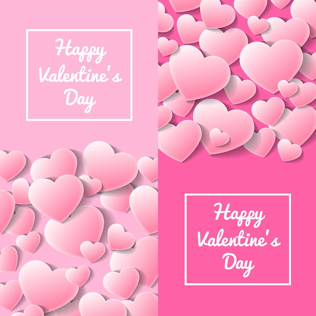 Happy valentines day greeting card templates Premium Vector