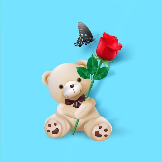 행복한 발렌타인 데이. 귀여운 곰 인사말 카드 잡고 빨간 장미 프리미엄 벡터