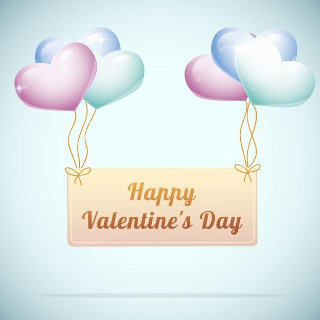 かわいいハート風船フラットベクトルイラストと幸せなバレンタインデーのグリーティングカード 無料ベクター