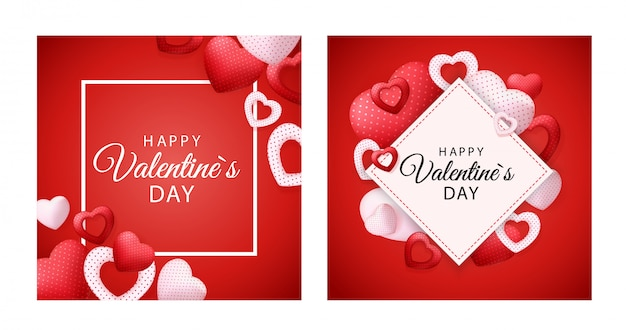 Happy valentines day greeting card with hearts Premium Vector