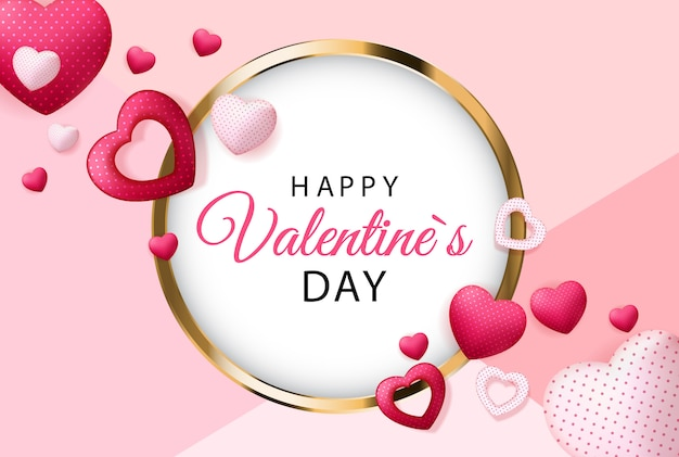 Happy valentines day greeting card Premium Vector