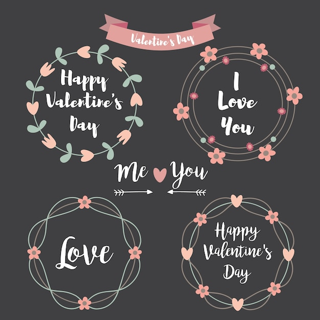 Happy Valentines Day Hand Drawing SetFloral Frame Typographic Lettering On Chalkboard Background Premium Vector