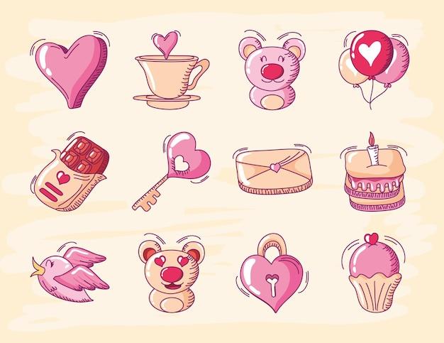 С днем святого валентина, сердце любовь медведь воздушный шар торт почта птица иконки набор рисованной стиль векторные иллюстрации Premium векторы