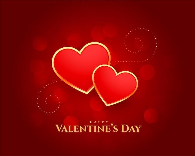 幸せなバレンタインデーの心の美しいカードのデザイン 無料ベクター