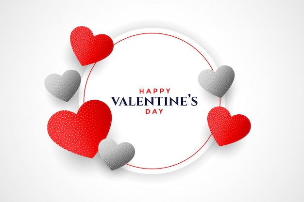 Happy valentines day hearts frame greeting card design Free Vector
