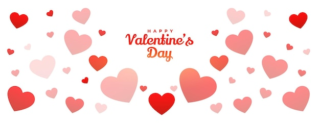 Happy valentines day hearts pattern banner design Free Vector
