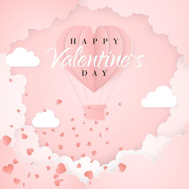 ハート型の折り紙の熱気球、白い雲と紙吹雪と幸せなバレンタインデーの招待カードテンプレート。ピンクの背景。 Premiumベクター